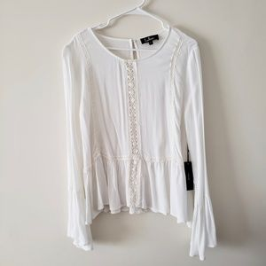 NWT Tunic with lace detail and Bell cuffs